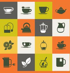 multicolor tea icons set vector image vector image