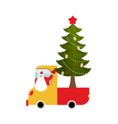santa claus in truck with tree holiday car new vector image