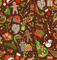 Seamless Cartoon Christmas Pattern vector image vector image