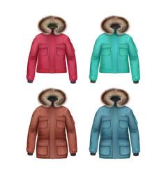 set of winter coats vector image vector image