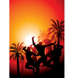 sunset party vector image vector image