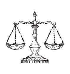 vintage scales engraving style vector image vector image