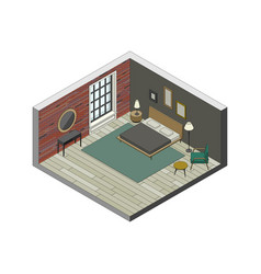 Bedroom in isometric view vector