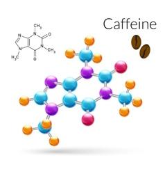 Caffeine molecule 3d vector image