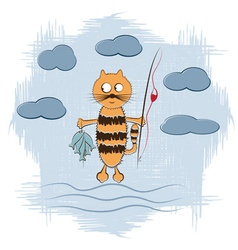 cartoon cat with fishing rod and fish vector image