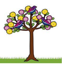 colored tree with birds and flowers vector image