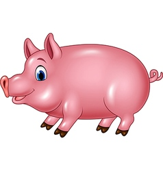 Cute pig isolated on white background vector image vector image