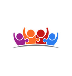 peoplepuzzle connected team of four logo vector image vector image