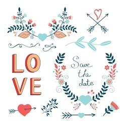 Romantic collection with flowers wreaths and vector image vector image