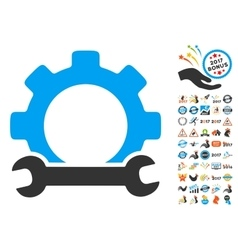 Service Tools Icon With 2017 Year Bonus Pictograms vector image vector image