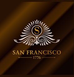 vintage gold hipster label with lettering san vector image vector image