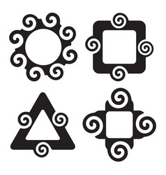abstract silhouette spiral shapes frame set vector image vector image