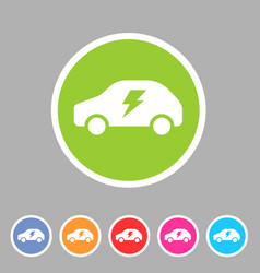 electric car icon flat web sign symbol logo label vector image