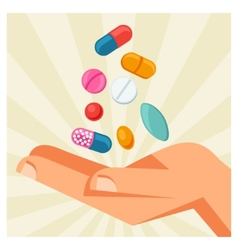 hand holding various pills and vector image vector image