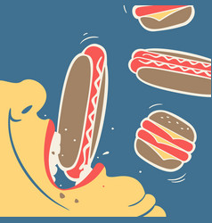man eats fast food vector image vector image