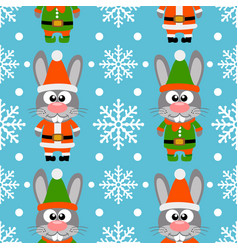 new year seamless card with funny rabbit santa cla vector image vector image