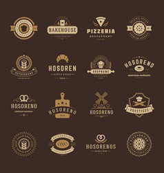 bakery shop logos badges and labels design vector image vector image