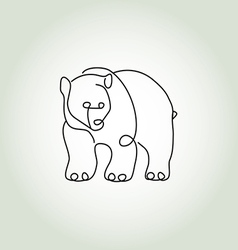Bear grizzly in minimal line style vector image