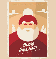 christmas greeting card design template with smili vector image