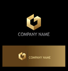 shape polygon technology gold logo vector image