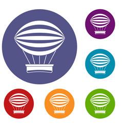 striped retro hot air balloon icons set vector image vector image