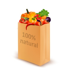 100 percent natural on a paper bag full of fresh vector image