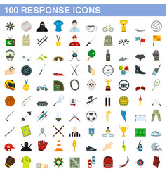 100 response icons set flat style vector image