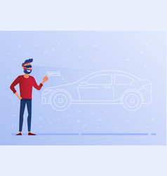 a caucasian man in vr headset testing virtual car vector image