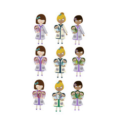 A set of characters an obstetrician nurse holding vector