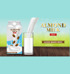 almond milk pouring in a glass realistic vector image