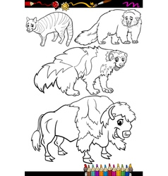 animals set cartoon coloring book vector image