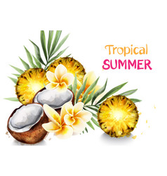 avocado and pineapple watercolor tropical vector image