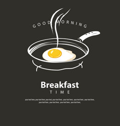 Banner for breakfast with fried egg on frying pan vector