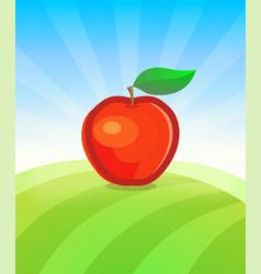 banner template with apple fruit in garden vector image