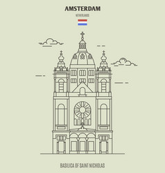 basilica of saint nicholas in amsterdam vector image