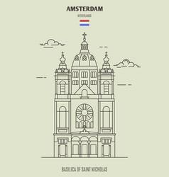 basilica saint nicholas in amsterdam vector image