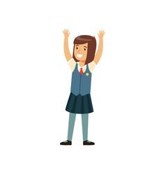 Beautiful smiling girl character in school uniform vector