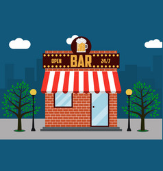 beer bar building facade with signboard with glass vector image