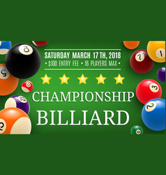 Billiard championship sport vector