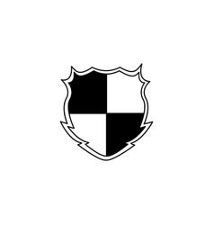 black and white checkered shield badge with blank vector image