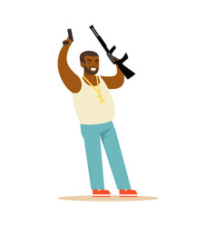 Black man raising his hands with guns to surrender vector
