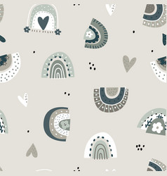 boho style seamless pattern with hand drawn vector image