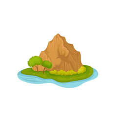 brown rocky mountain and green plants small vector image