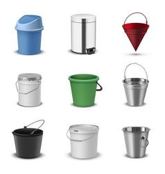 Buckets assortment household plastic and metal vector