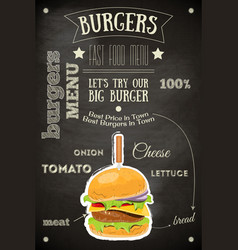 burger house menu vector image