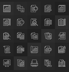 business report linear icons set reports vector image