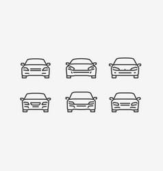 car icon set in linear style transport vector image