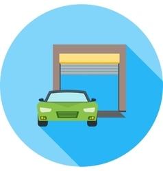 Car infront of Garage vector