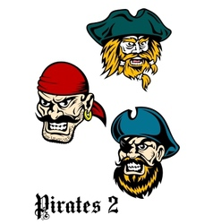 Cartoon brutal pirate captains set vector image