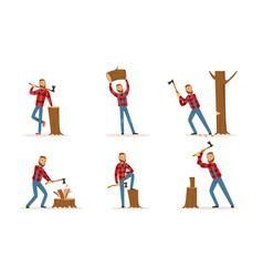 Cartoon character lumberjack in plaid shirt in vector